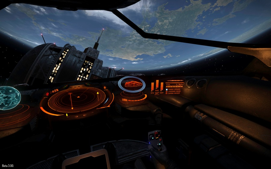 Azeban Orbital, a starport in the Eranin system. This is where players first spawn into the game.