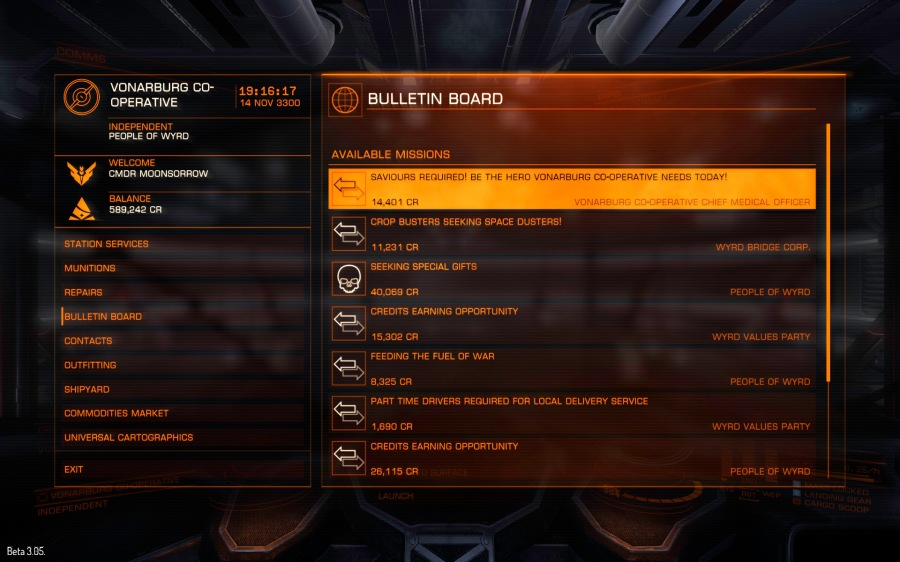 The bulletin board displays available missions. These have a time limit which works in real time and not game time - so be careful what you take. Mission failure can result in fines and loss or reputation with that faction.