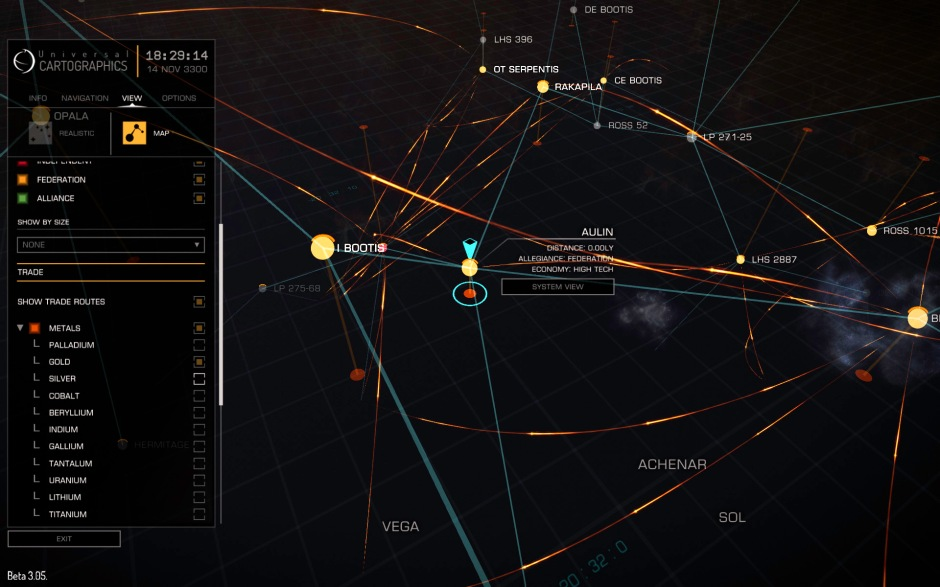The galaxy map can be used to display trade routes of specific commodities - here I'm looking at gold