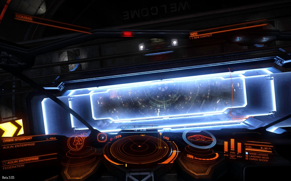 Entering Aulin Enterprise. You are sometimes scanned for crimes and illegal cargo when entering a starport, so you may need to switch to silent running to evade the prying eyes of the authorities