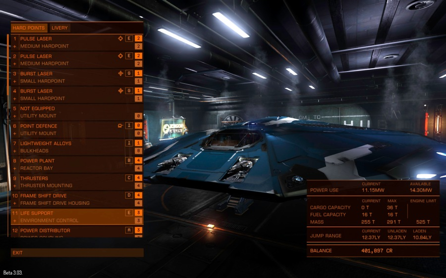 As well as weapons you can install lots of neat gadgets like countermeasure systems and cargo scanners, and you upgrade virtually every component of your ship, such as shields, frame shift drive, thrusters and cargo space.