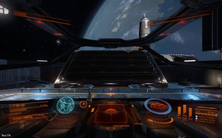 Beta 2 saw the introduction of Outposts, small starports with external landing platforms. This is the Azeban Orbital in Eranin, where new players spawn into the game. (beta 2 screenshot)