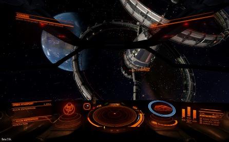 The Aulin Enterprise, an oribs-type starport, in orbit around the planet Nirvana. (beta 2 screenshot)
