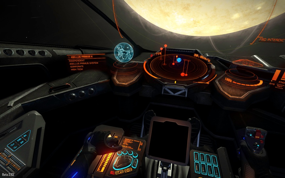 The spartan cockpit of the Viper, a heavy fighter and total speed demon.