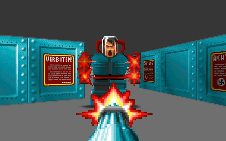 The boss fight at the end of episode 3 of Wolfenstein 3D pits you against a mechanised Hitler