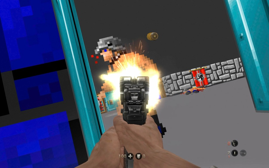 Wolfenstein 3D, as reimagined in an easter egg that can be found the latest game