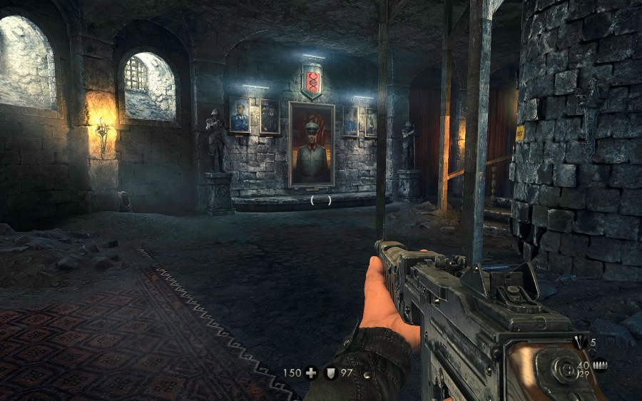 The environments of Deathshead's 1946 compound are a clear nod to Return to Castle Wolfenstein