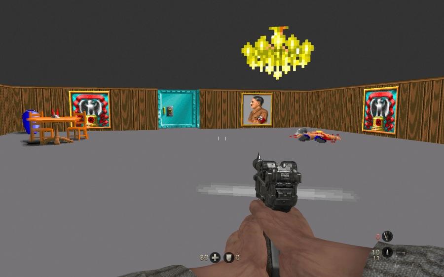 Blazkowicz finds himself back in Wolfenstein 3D - a neat little Easter egg