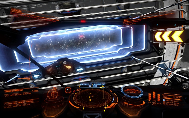 A Viper heads through the letterbox of a starport just ahead of my Cobra