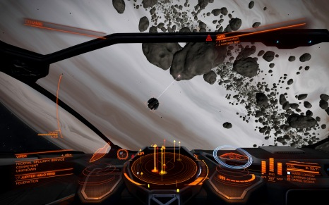 A ship mining the asteroids within Jupiter's rings