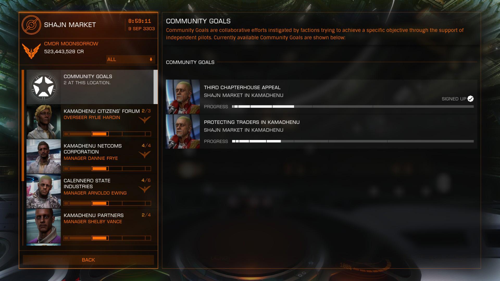 Elite: Dangerous beginner's guide: a screenshot of available community goals