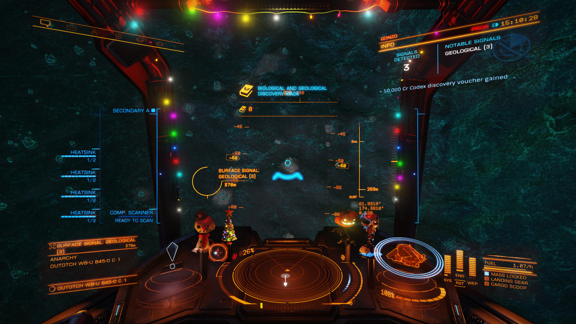 Elite: Dangerous beginner's guide: a screenshot showing how to use the compositional scanner