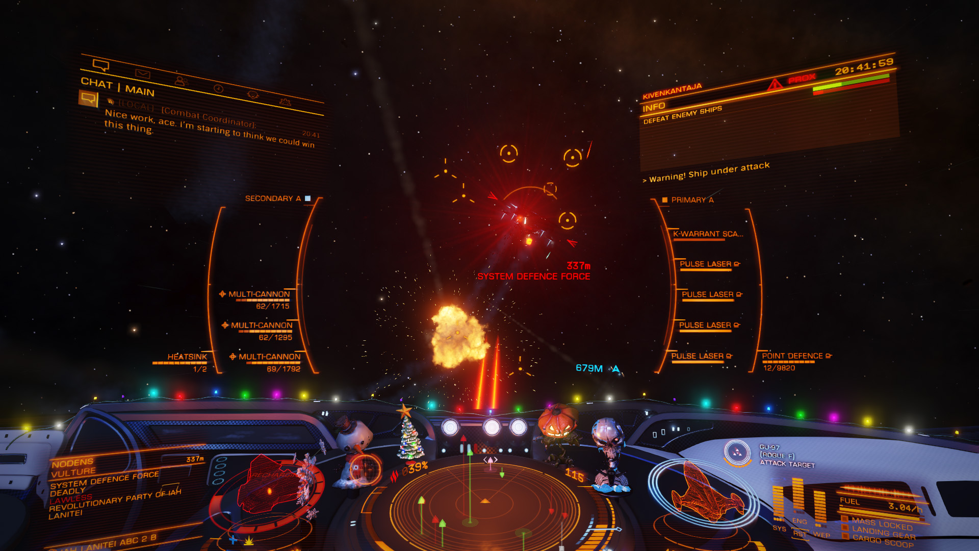 Elite: Dangerous beginner's guide: a screenshot of fighting in a conflict zone