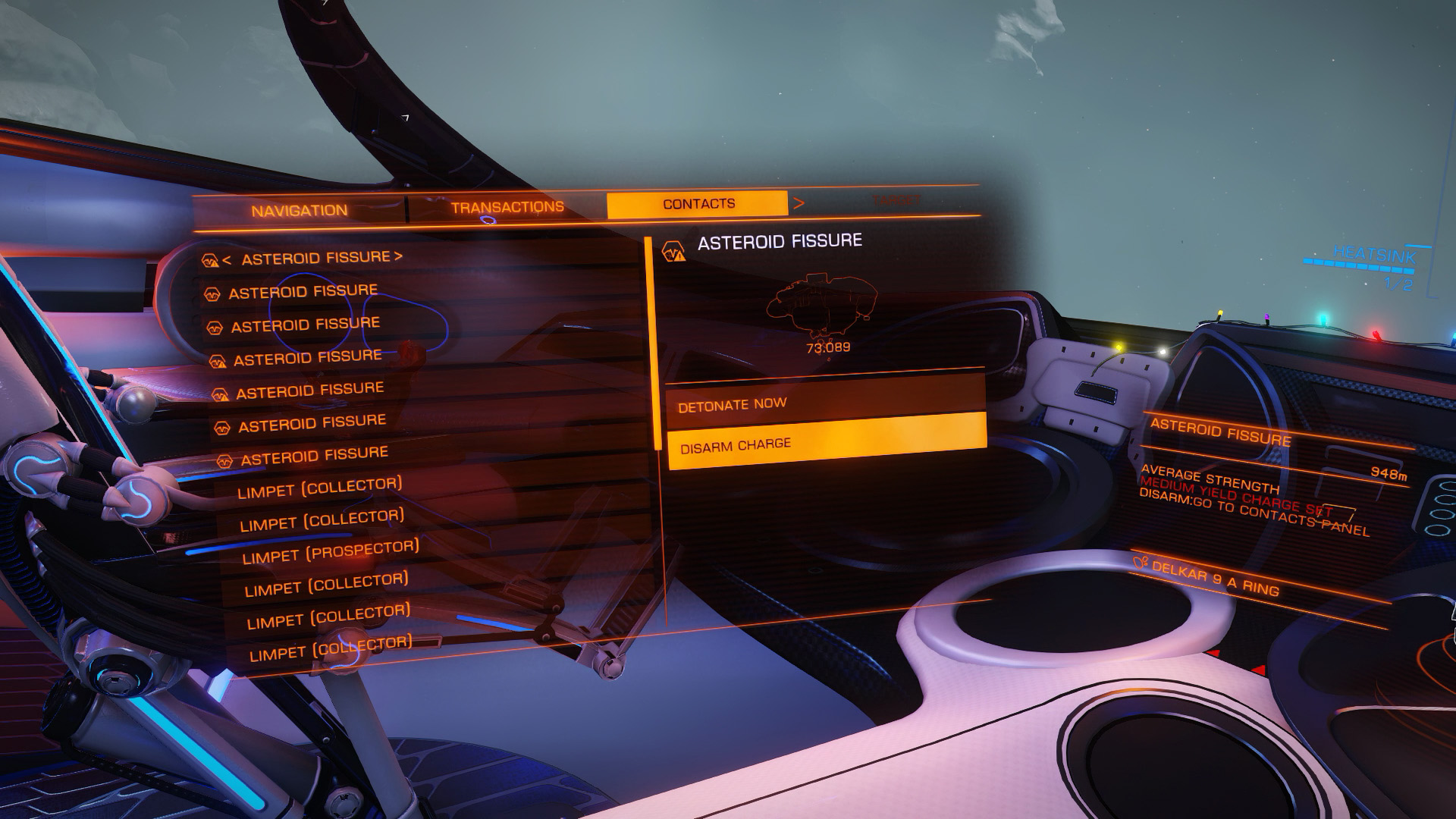 Elite: Dangerous beginner's guide: a screenshot showing how to disarm seismic charges
