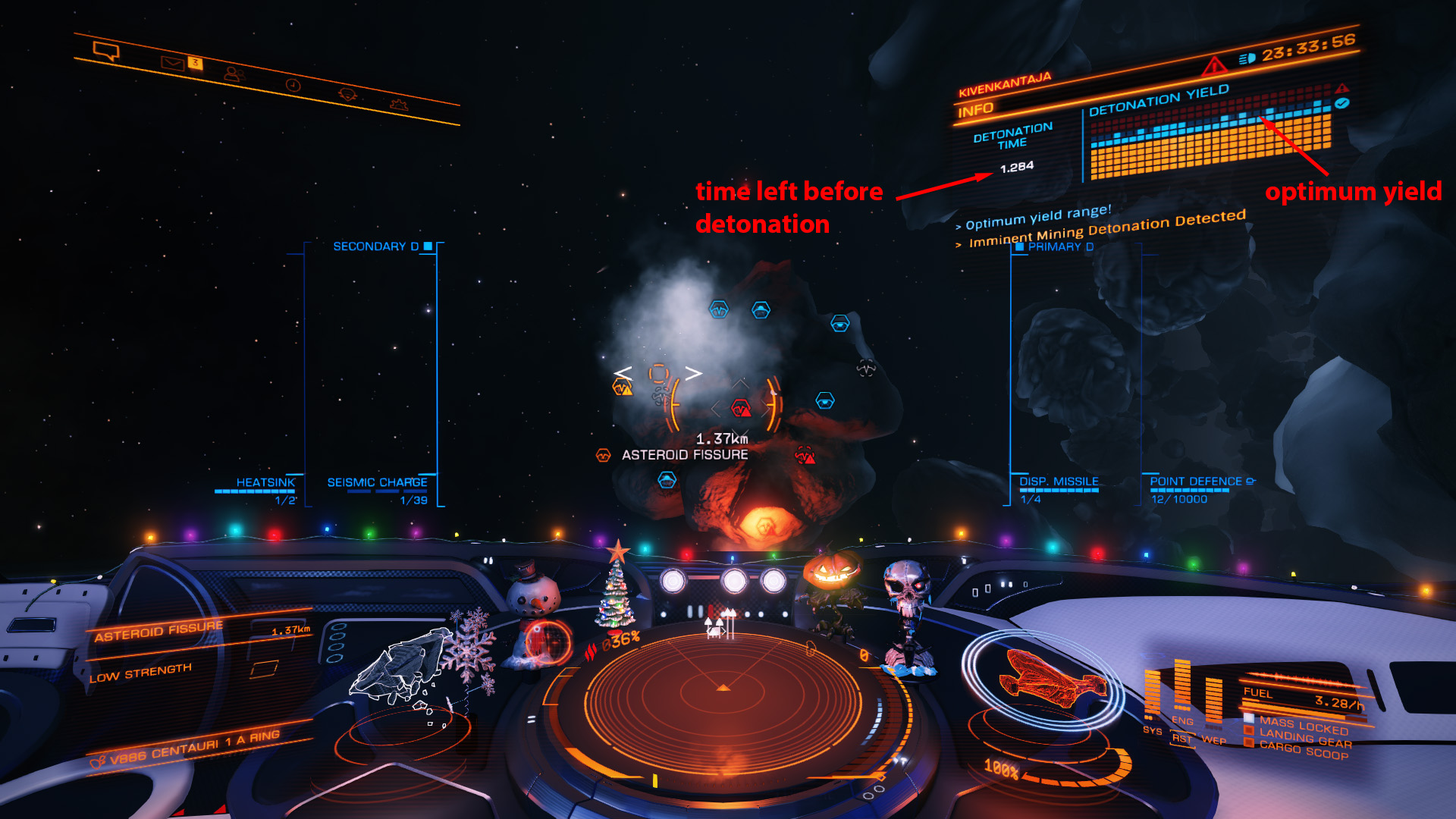 Elite: Dangerous beginner's guide: a screenshot showing the UI for placing seismic charges on asteroid fissures