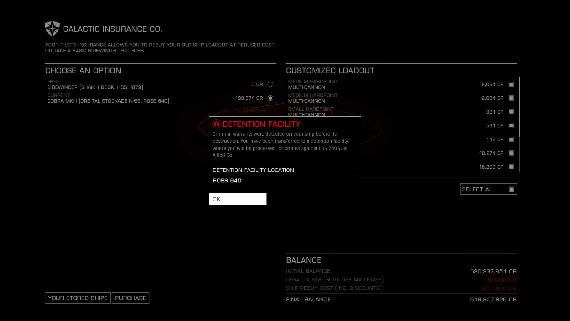 Elite: Dangerous beginner's guide: A screenshot showing the criminal rebuy screen