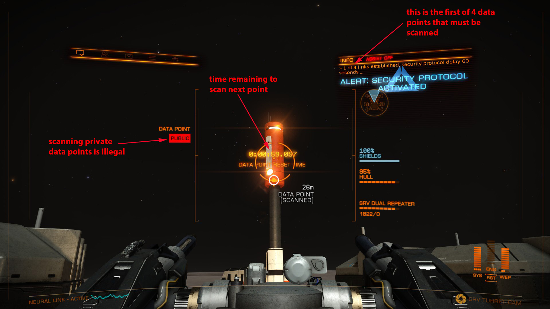 Elite: Dangerous beginner's guide: an annotated screenshot illustrating how to scan data points