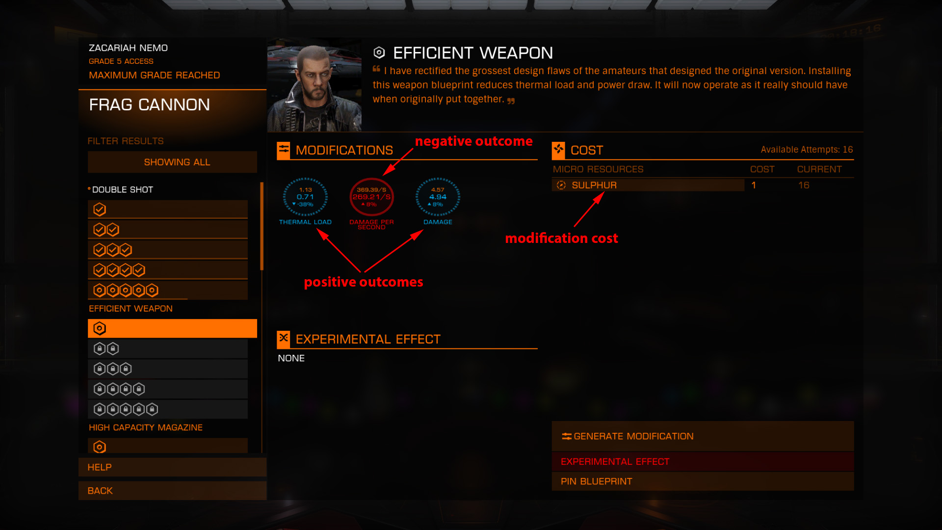 Elite: Dangerous beginner's guide: an annotated screenshot showing how to modify a module with an engineer
