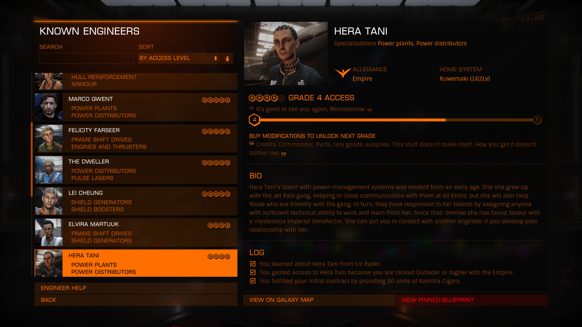 Elite: Dangerous beginner's guide: a screenshot showing the engineers info screen