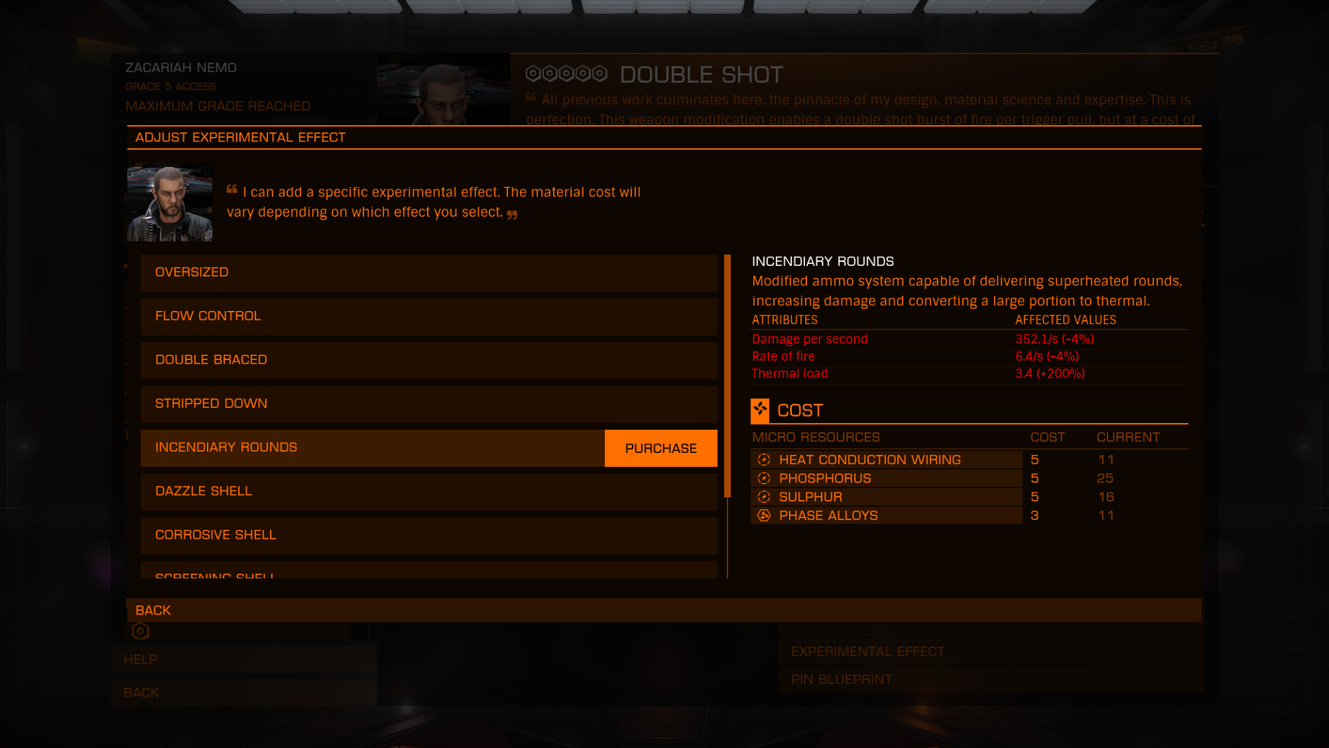 Elite: Dangerous beginner's guide: a screenshot showing the possible experimental effects for a particular engineer modification