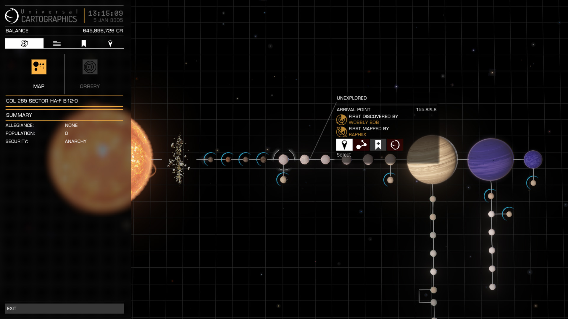 Elite: Dangerous beginner's guide: a screenshot showing previously discovered planetary bodies on the system map
