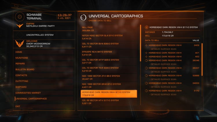 Exploration 3. Selling exploration data at the Universal Cartographers starport service. You need to be at least 20Ly from the system you charted in order to sell the data.