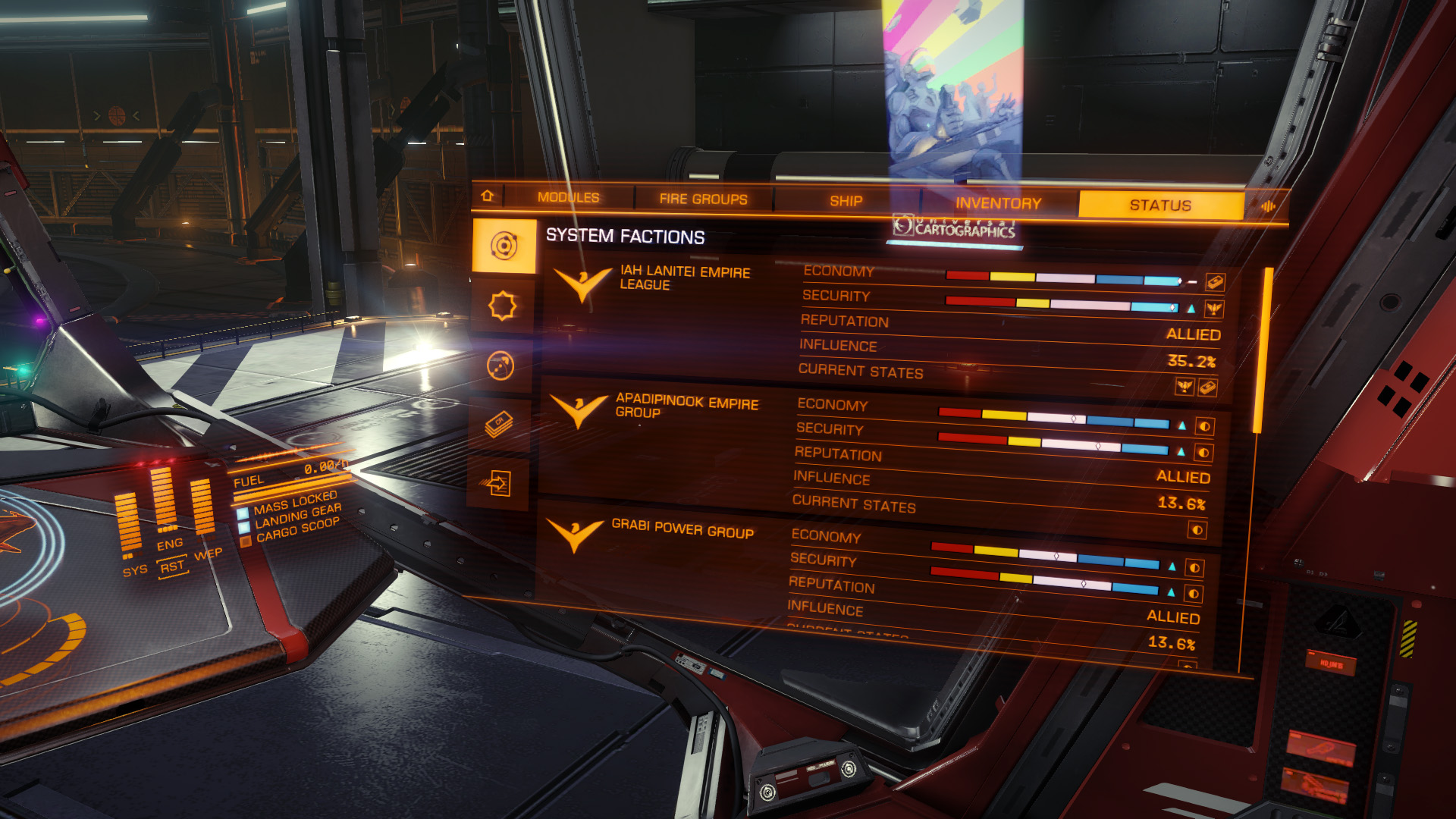 Elite: Dangerous beginner's guide: A screenshot showing where to find info on the standings of system factions