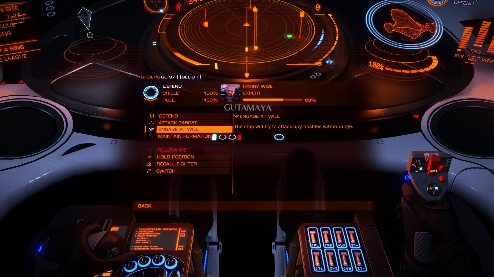 Elite: Dangerous beginner's guide: a screenshot showing how to give orders to an SLF