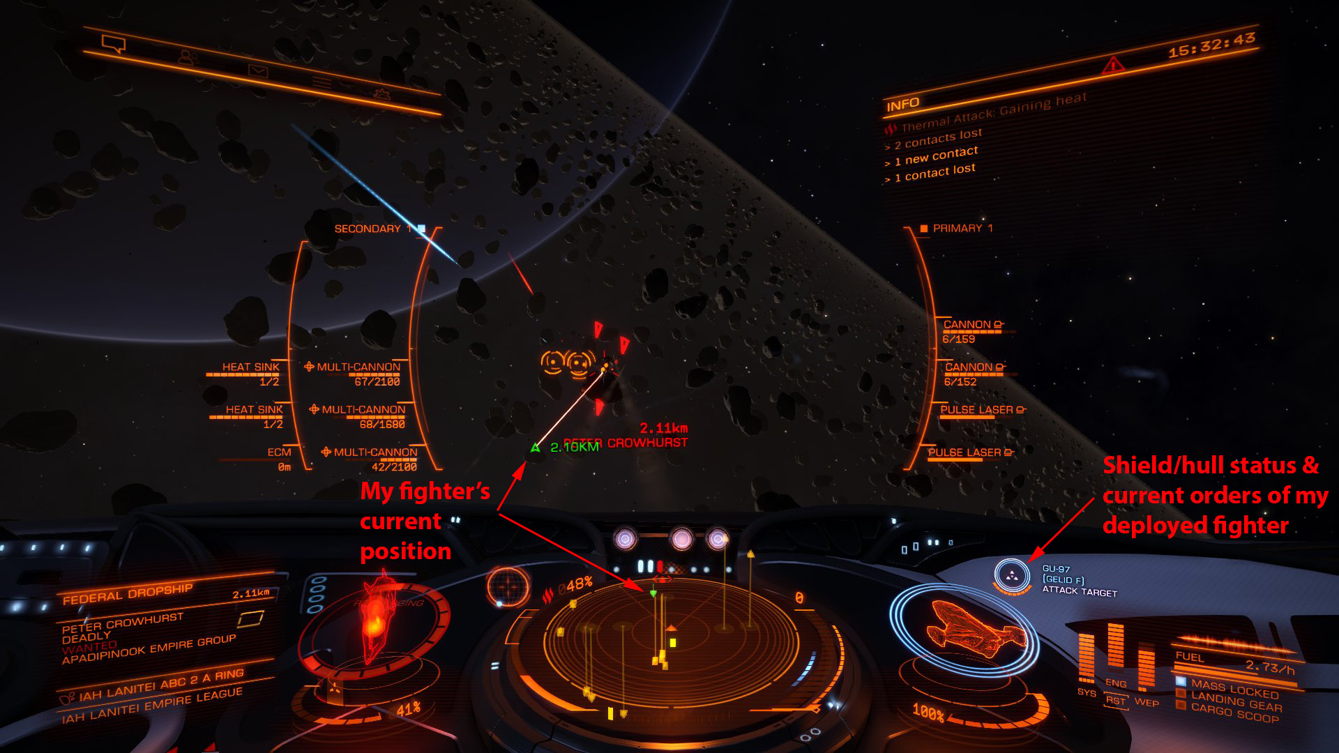 Elite: Dangerous beginner's guide: an annotated screenshot showing SLF info on the ship cockpit HUD
