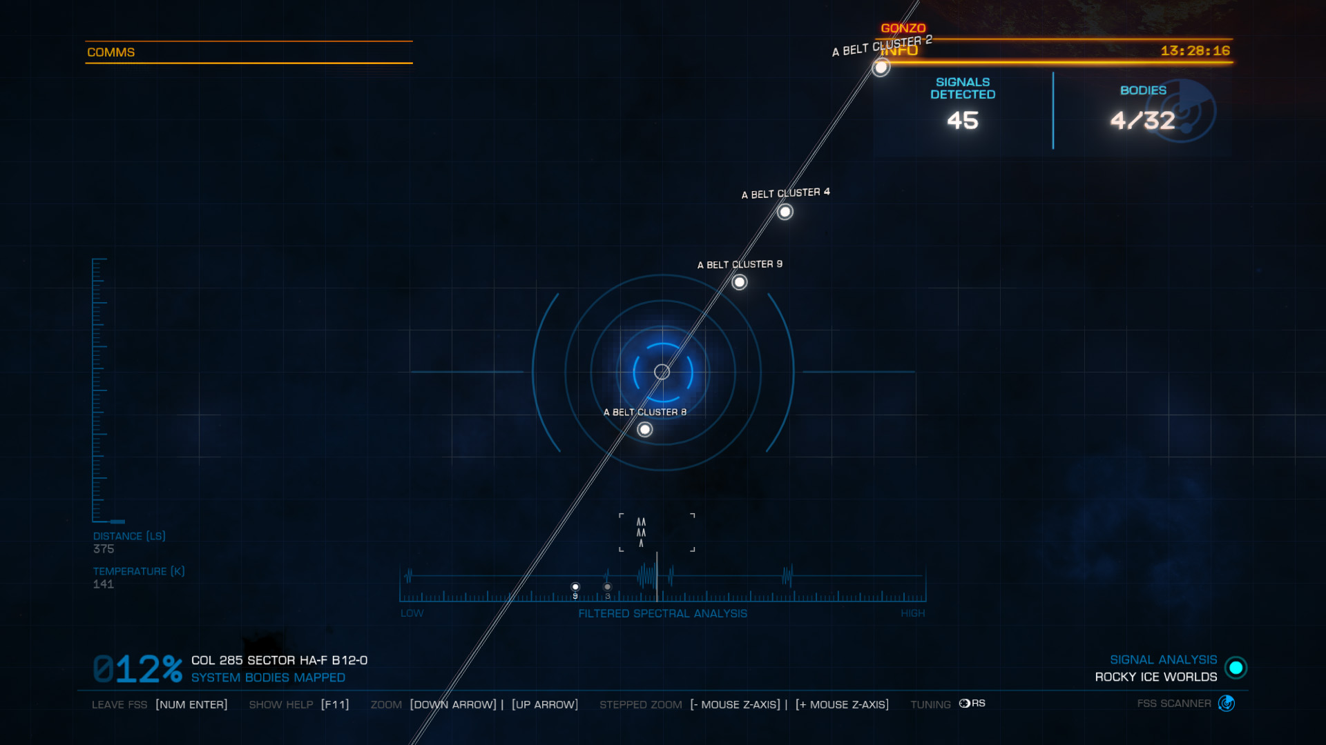Elite: Dangerous beginner's guide: a screenshot showing a correctly tuned FSS signal