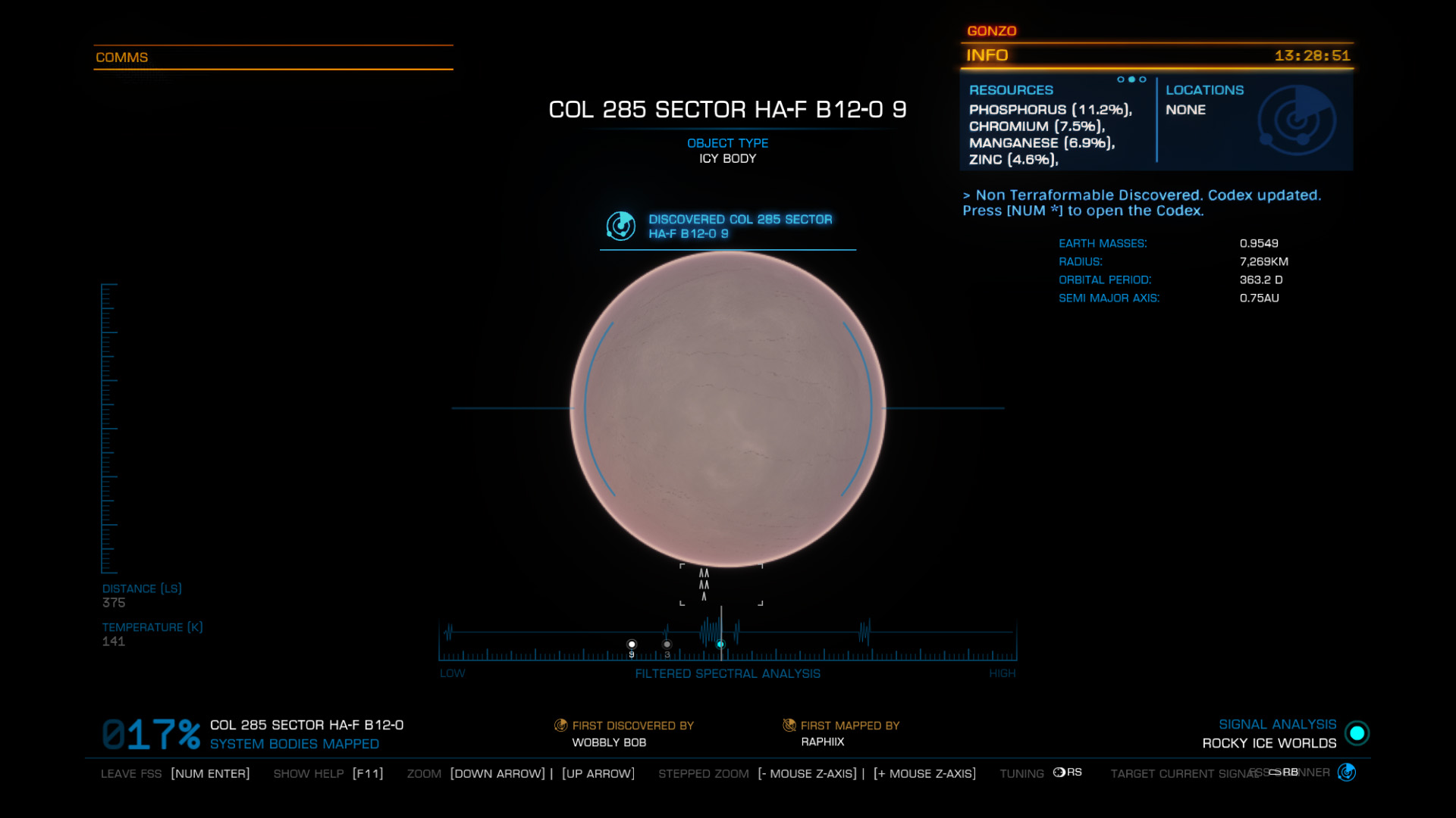 Elite: Dangerous beginner's guide: a screenshot showing a zoomed in planet on the FSS
