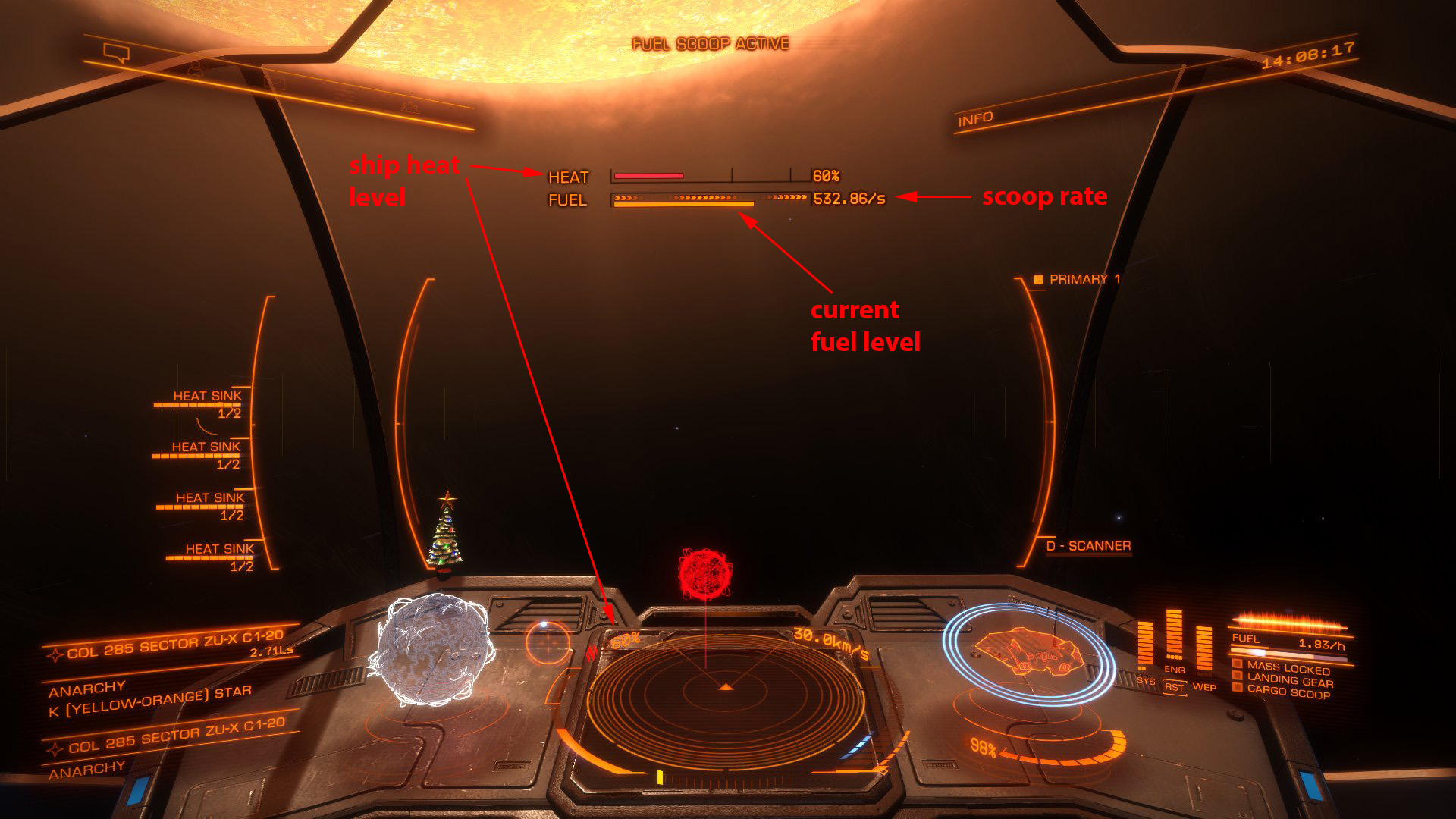 Elite: Dangerous beginner's guide: an annotated screenshot showing how to fuel scoop at a star