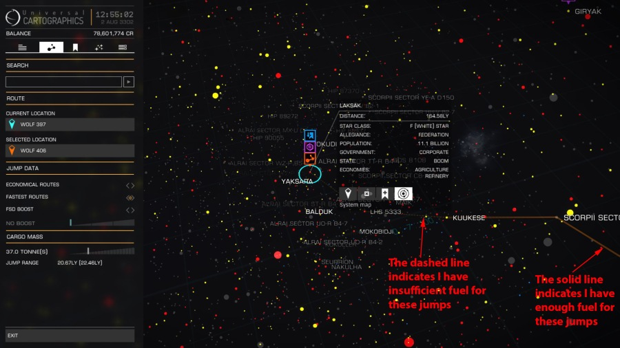 Galaxy map route plotting
