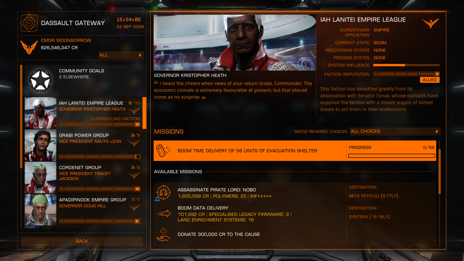 Elite: Dangerous beginner's guide: a screenshot showing mission board depots for haulage scenarios