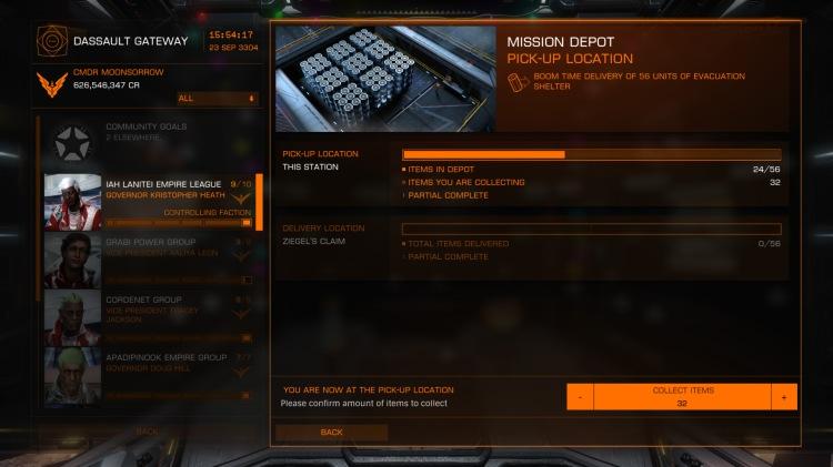 Mission board depots for haulage scenarios