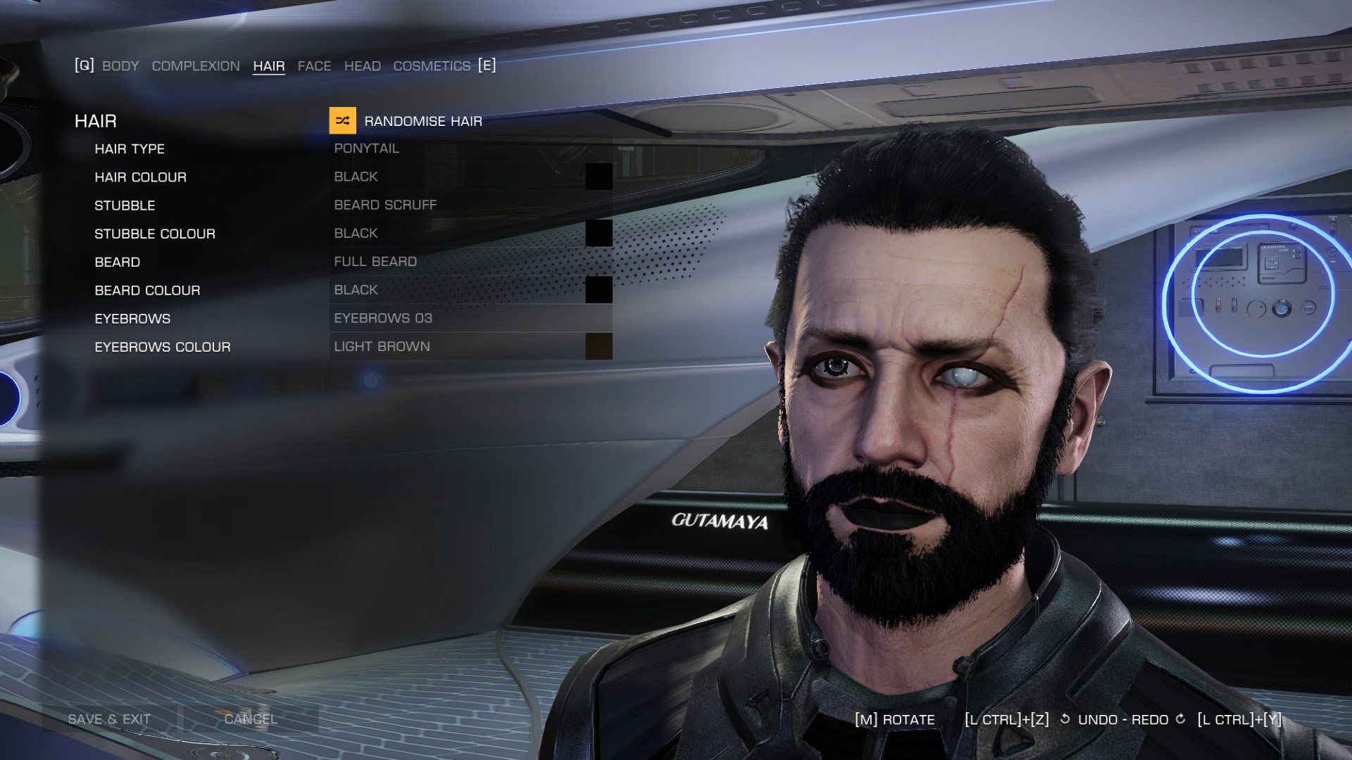 Elite: Dangerous beginner's guide: a screenshot showing the Holo-Me customisation screen