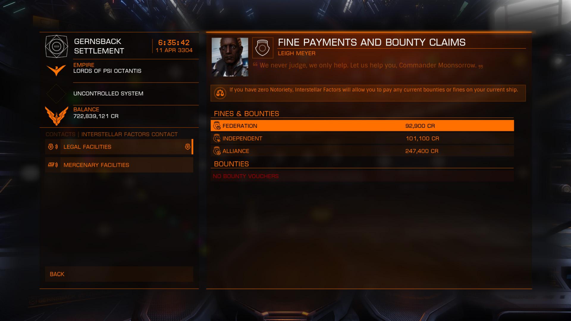 Elite: Dangerous beginner's guide: A screenshot showing the Interstellar Factors Contact