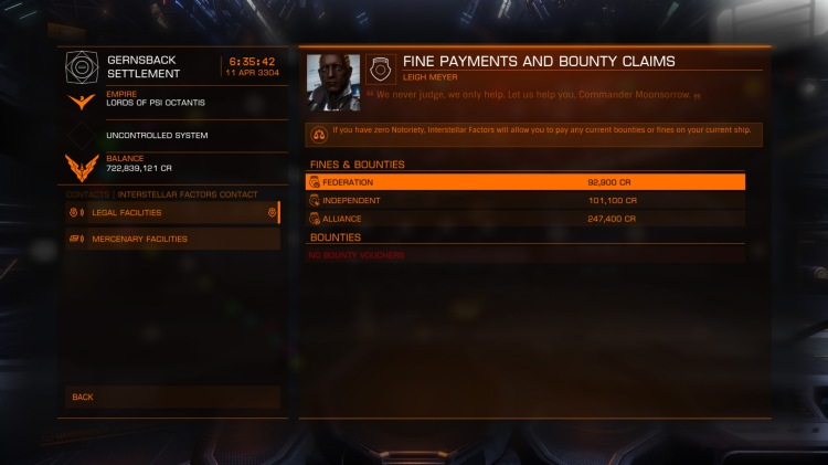 Paying off bounties at the Interstellar Factors contact