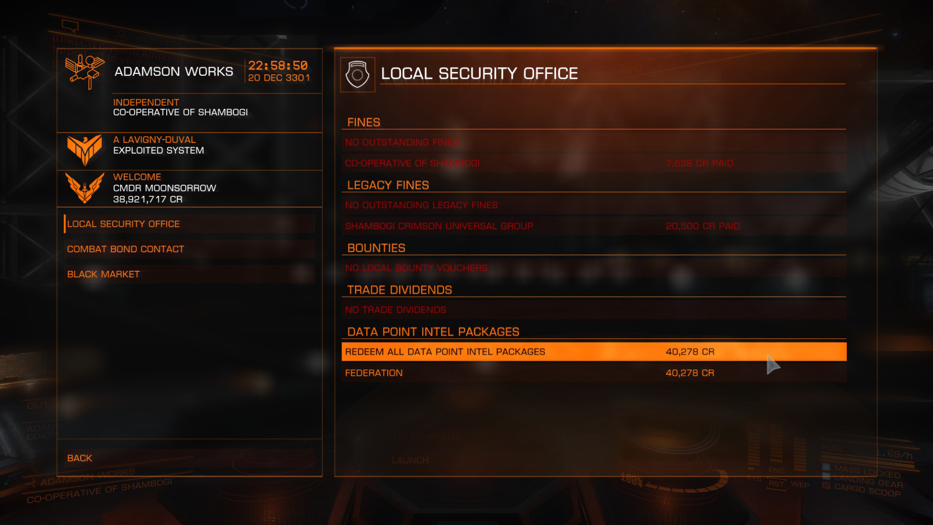 Elite: Dangerous beginner's guide: as screenshot showing where to sell intel packages