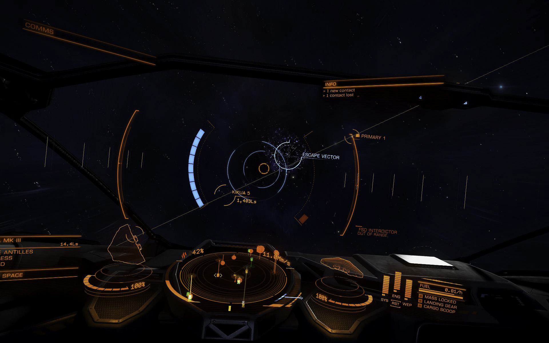 Interdiction is a way to pull ships out of SC and requires a special module. The interdictor has to remain on the tail of the target ship for success; the target can evade interdiction by remaining aligned with the escape vector. It's a battle of the blue and red power bars (here I'm successfully escaping interdiction)