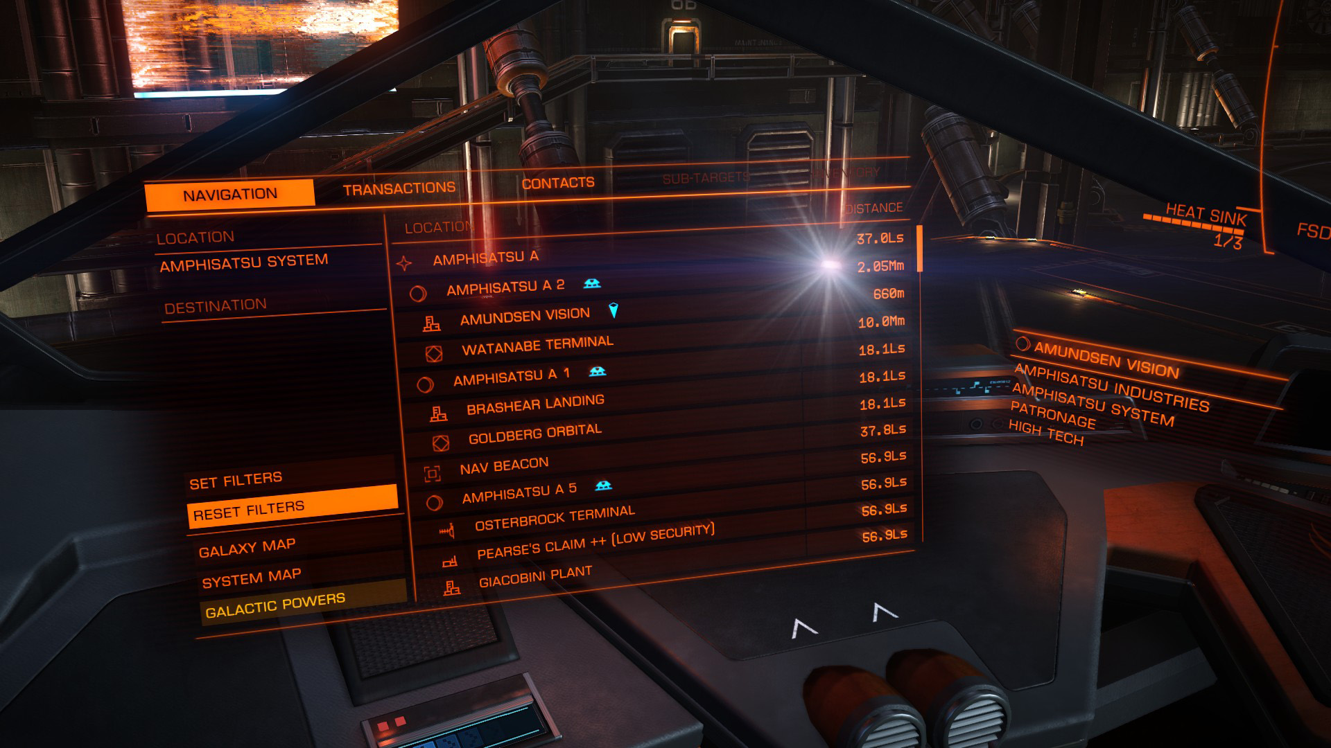 Elite: Dangerous beginner's guide: a screenshot showing landfall planets in the navigation tab