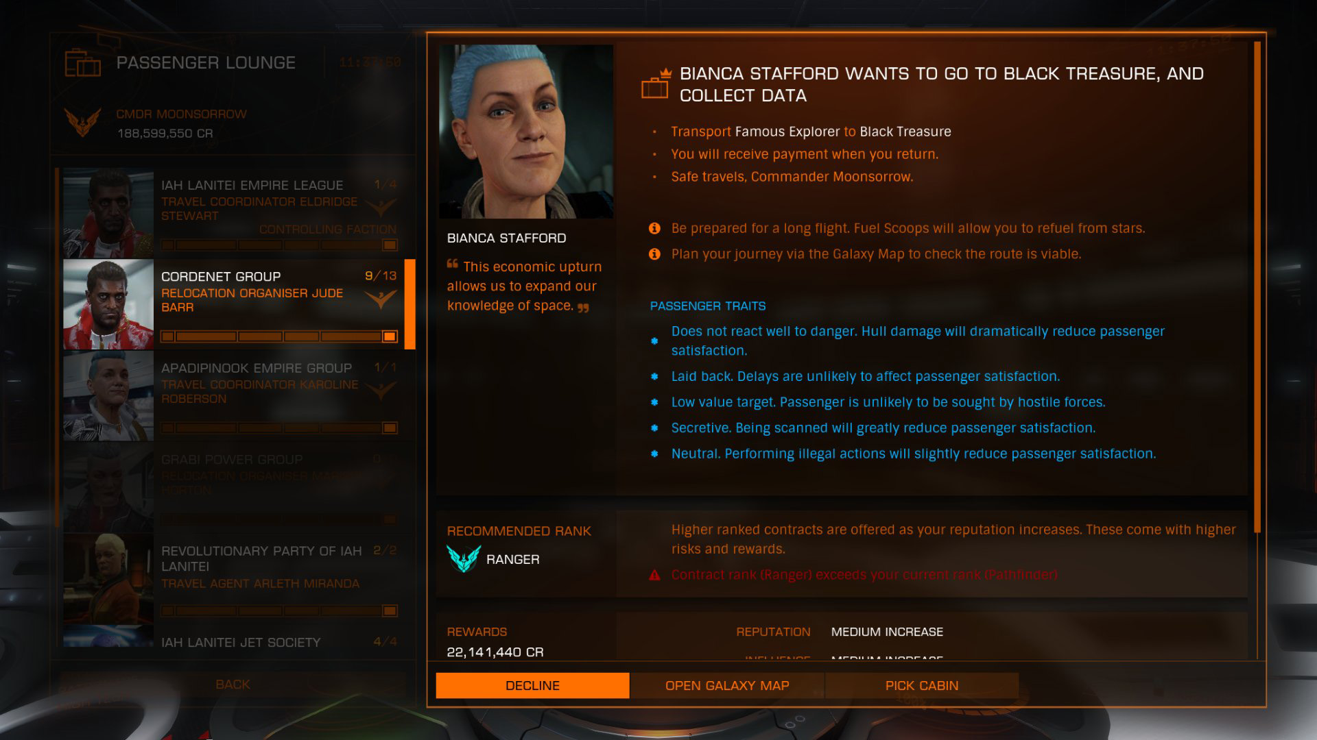 Elite: Dangerous beginner's guide: a screenshot showing an example of a long-distance passenger mission