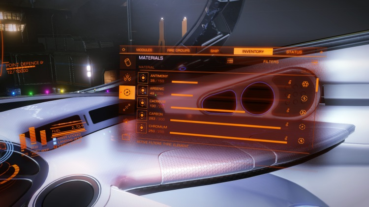 Viewing the material inventory in the systems panel