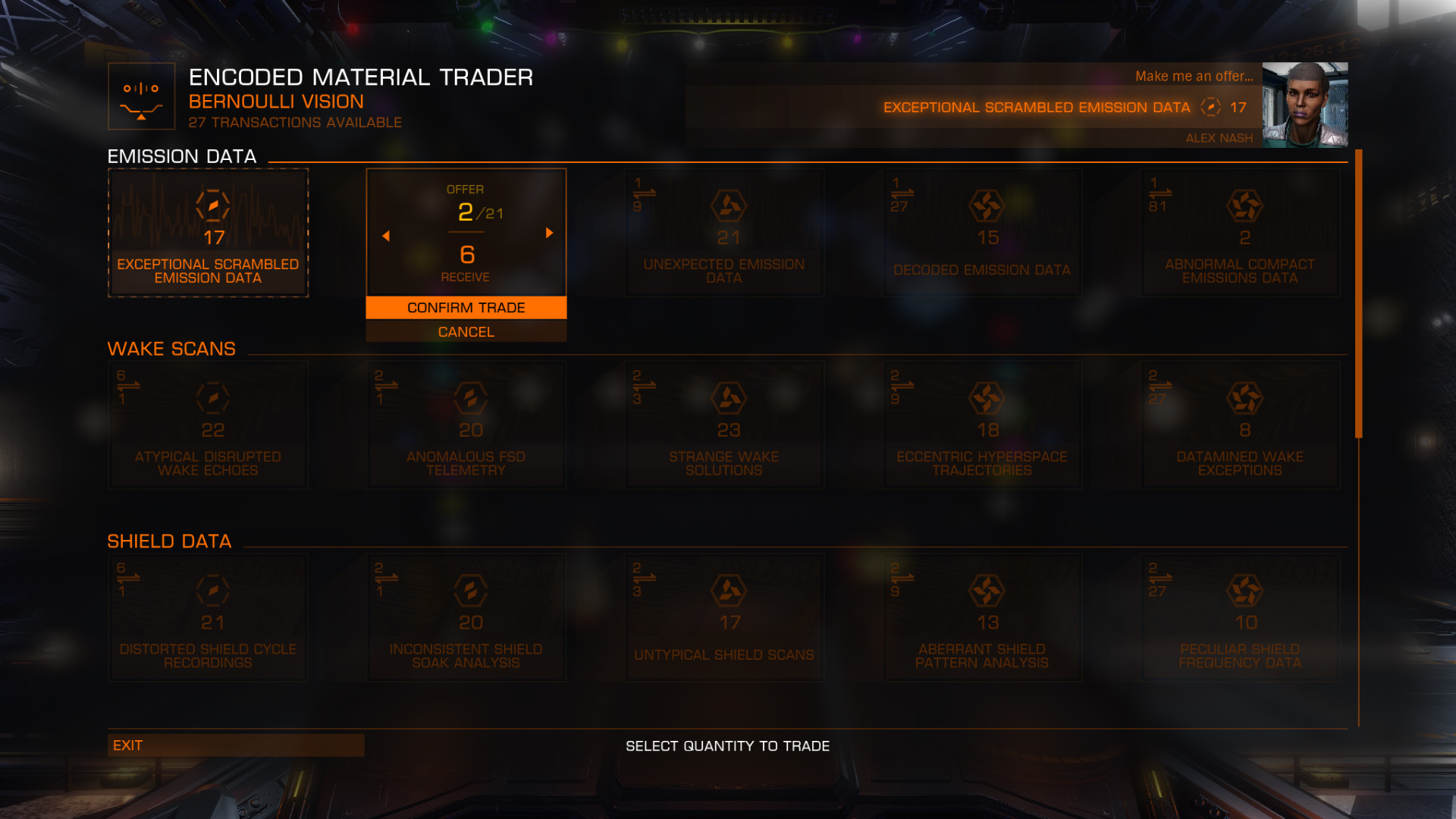 Elite: Dangerous beginner's guide: a screenshot showing how to use the materials trader