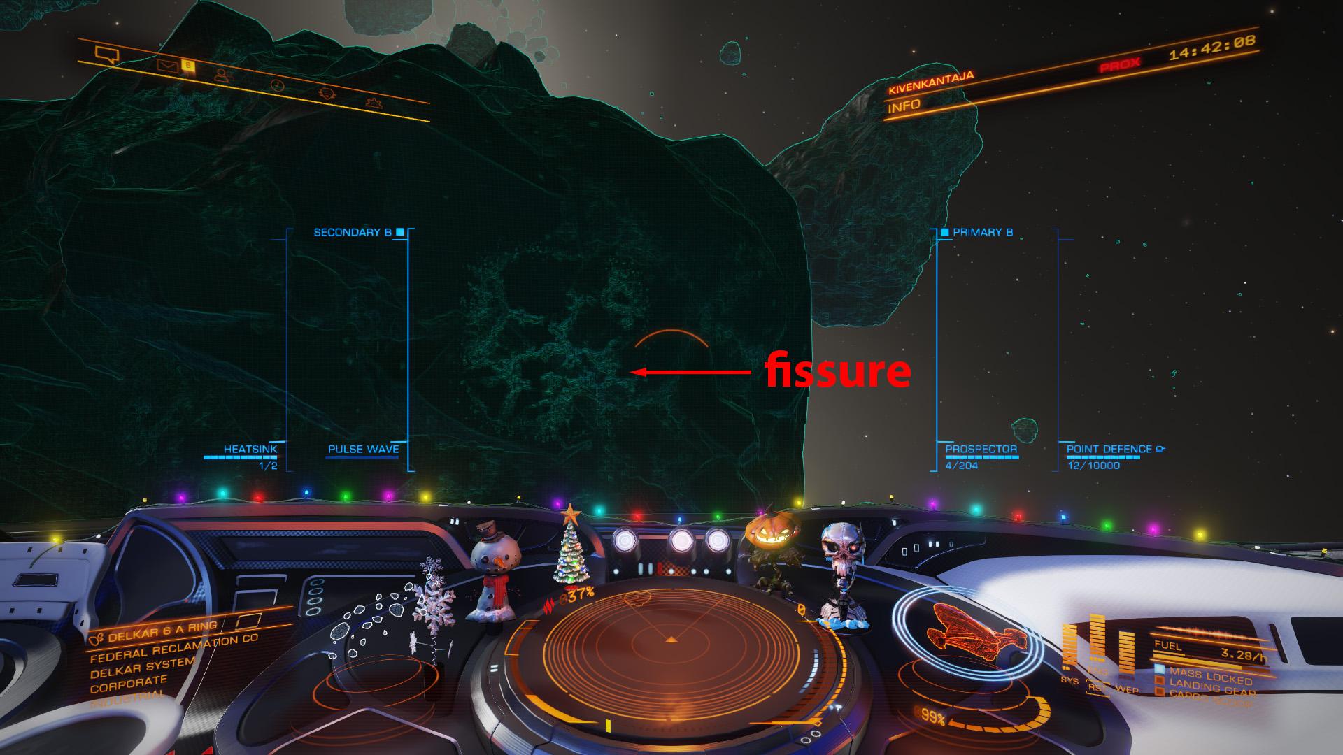 Elite: Dangerous beginner's guide: a screenshot showing a fissure on a metallic megalode asteroid