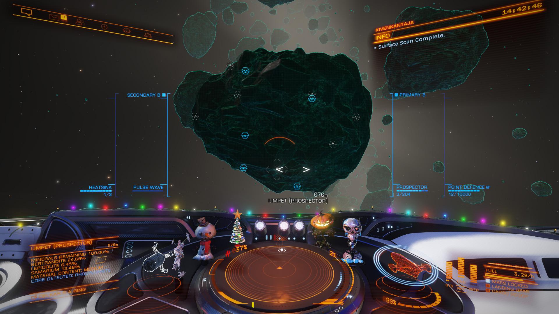 Elite: Dangerous beginner's guide: a screenshot showing the general shape of a metallic megalode asteroid
