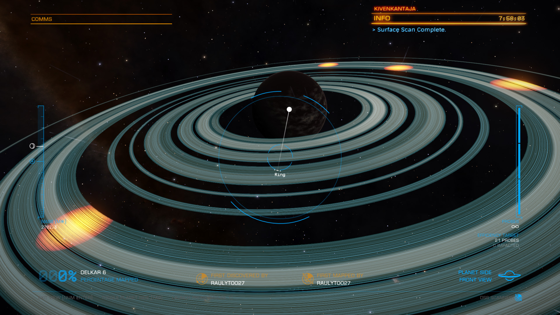 Elite: Dangerous beginner's guide: a screenshot showing how to use the DSS to find mining hotspots