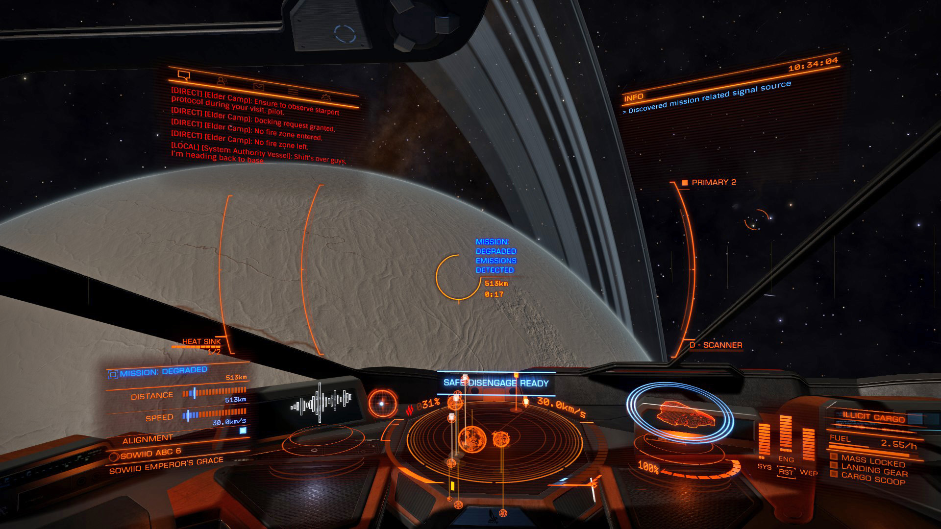 Elite: Dangerous beginner's guide: A screenshot showing a mission-related signal source in supercruise