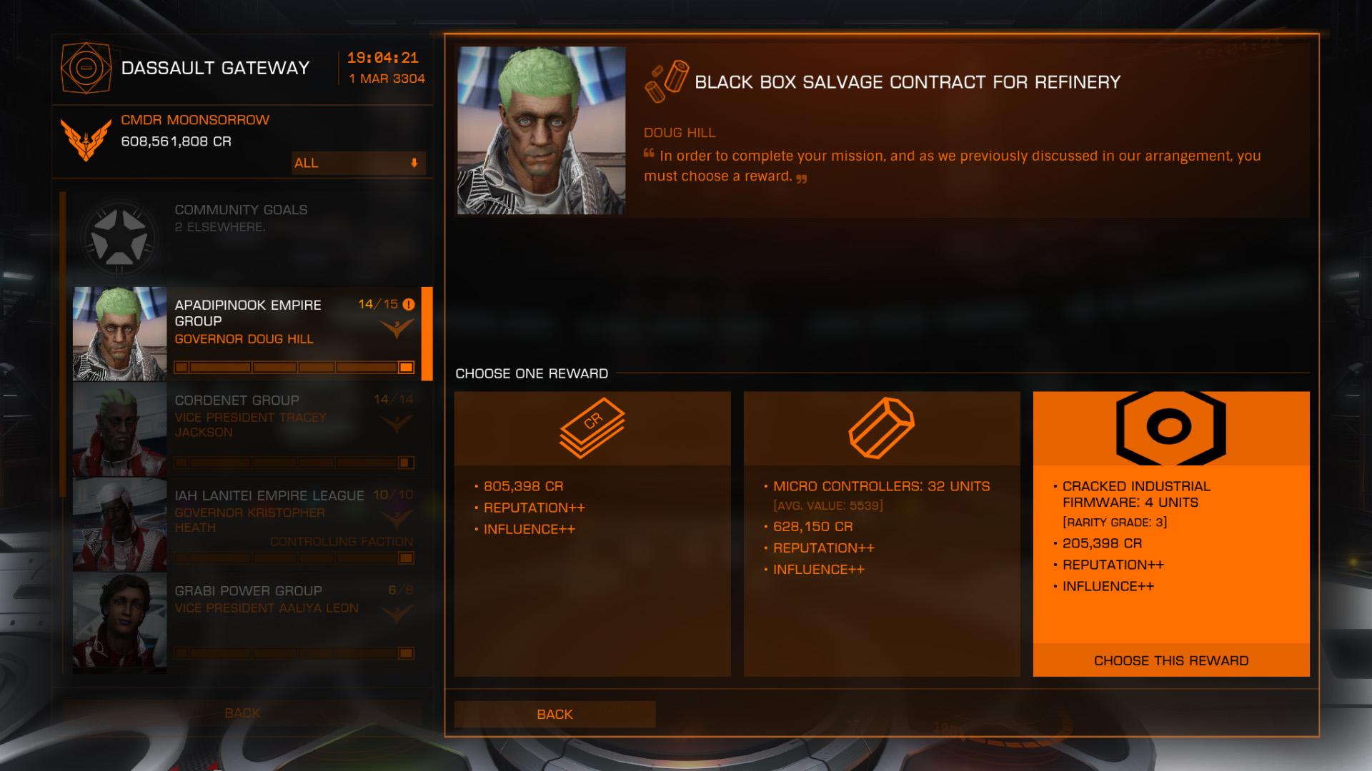 Elite: Dangerous beginner's guide: a screenshot showing mission rewards options