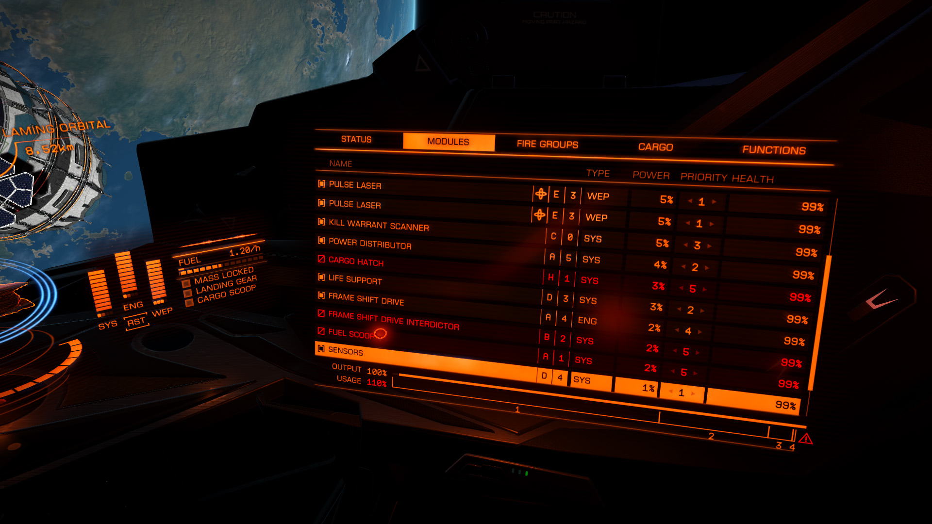 Elite: Dangerous beginner's guide: A screenshot showing the module power management tab